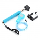Retractable Monopod Selfie Rod + Quick Release Shutter Control Cable + Mount for IPHONE - Blue
