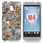Cute Cartoon Pattern TPU Back Case for HTC One Mini / M4 / 601e - Black + Grey