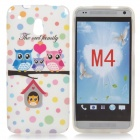Cute Cartoon Owl Pattern TPU Back Case for HTC One Mini / M4 / 601e - White + Pink
