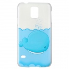 Cute Whale Pattern High Quality Protective Plastic Hard Case for Samsung Galaxy S5 - White + Blue