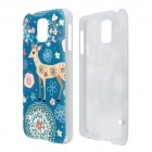 Lovely Garden Deer Pattern High Quality Protective Plastic Hard Case for Samsung Galaxy S5 - Blue
