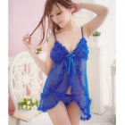 8002-B Sexy Mesh Yarn Sleep Dress w/ Thong - Blue