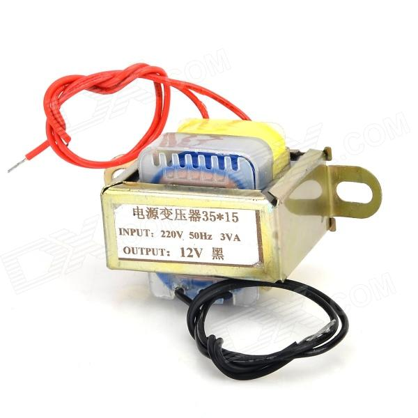 EI 3W 220V to 12V Power Transformer - Soil Golden + Yellow