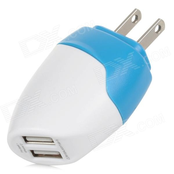 Dual USB 5V / 1.5A US Plug Power Charging Adapter for Cellphones + More - White + Blue (100~240V) hoco uh206 dual usb charging adapter