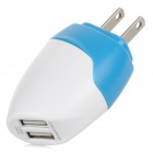 Dual USB 5V / 1.5A US Plugs Power Charging Adapter for Cellphones + More - White + Blue (100~240V)