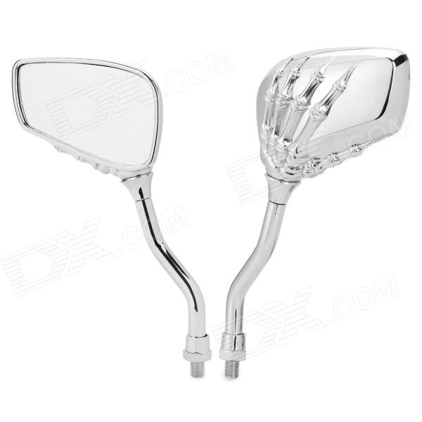 SL-033 Cool Skeleton Hands Style Universal Rearview Mirrors for Motorcycle - Silver (Pair) цена и фото