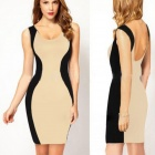 WS-2597 Fashion Knitted Cotton Backless Slim Dress for Women - Black + Khaki (L)