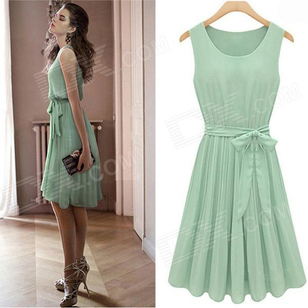 JM1288 Fashionable Chiffon Sleeveless Women's Dress - Green (Size XL)
