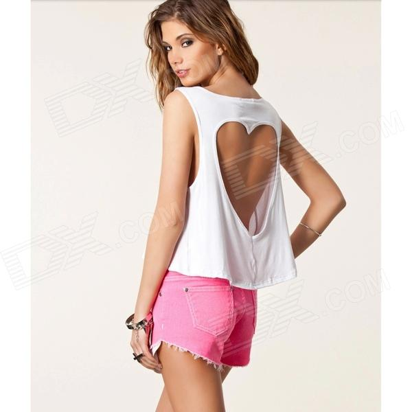 WS-2626 Stylish Cotton Sleeveless V-Neck Heart-Shaped Hollow Back Short T-shirt - White (M)