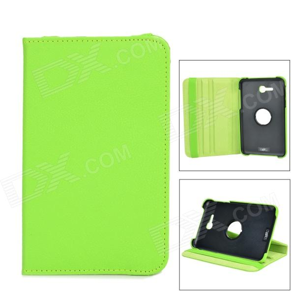 IKKI 360 Degree Rotation Flip-open PU Leather Case for Samsung Galaxy Tab 3 Lite T110 - Green detachable 57 key bluetooth v3 0 keyboard pu leather case for samsung galaxy tab t110 pink