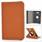 Flip-open PU Case w/ Stylus / Screen Guard for Samsung Tab 3 Lite T110 / T111 - Brownish Yellow
