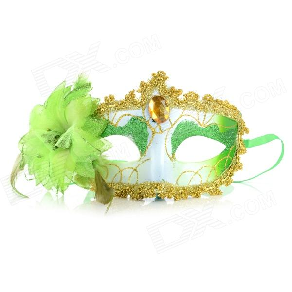 NHMZ002 Stylish Plastic Eye Mask w/ Flower for Women - Green + White + Multicolored