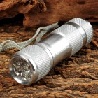 60lm 9-LED White Light Flashlight w/ Strap - White Silver (3 x AAA)