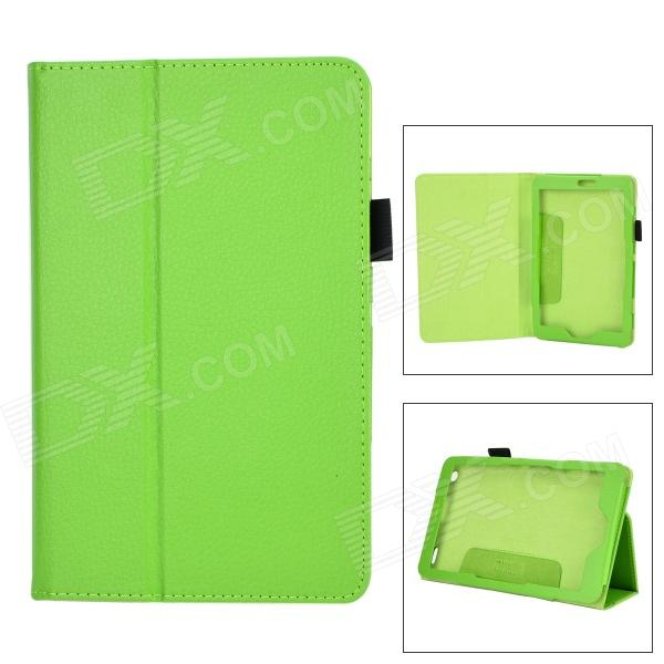 Lychee Pattern Protective PU Leather Case w/ Stand for Lenovo Miix2 8 - Green wall light touch timer switch 1 gang 1 way crystal glass cover time delay electrical switches blue led indicator uk type