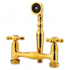 PHASAT 4113 Luxurious Dual Tap Brass Shower Faucet Set - Golden
