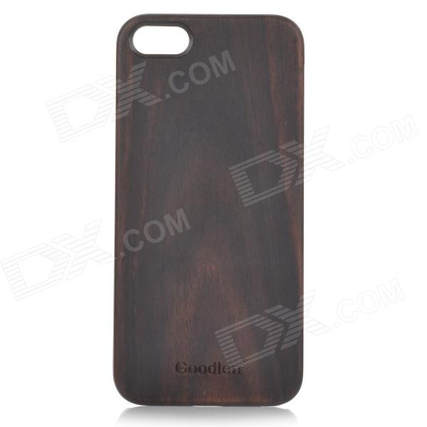 Goodlen Retro Protective Red Sandalwood Wooden Back Case for IPHONE 5 / 5S - Brown + Black