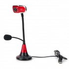 Happyunicom U8301 USB 2.0 Wired Camera w/ Microphone / 3-LED - Black + Red