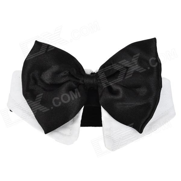 Doglemi DM10046 Stylish Bow Tie for Dog Cat Pet - Black + White (Size L)