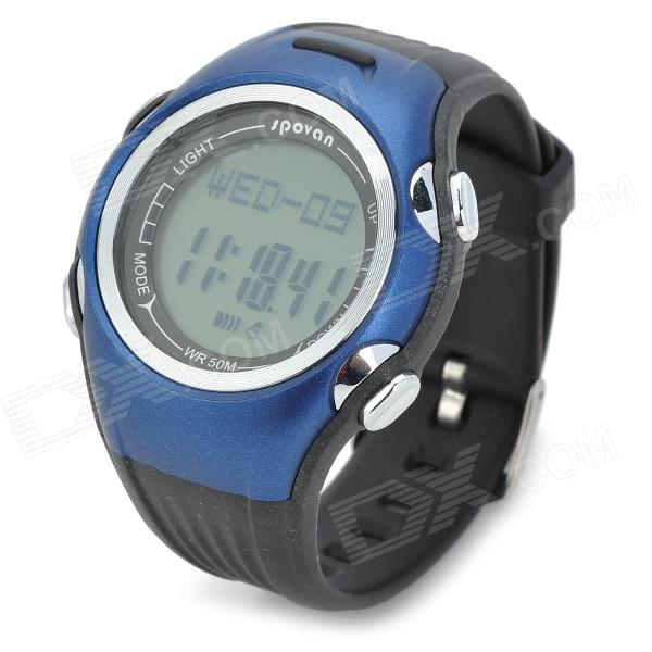 Spovan SPV901 Multi-fucntional PU Band Digital Quartz Outdoor Sports Wrist Watch - Blue u80 smart watch with pedometer function