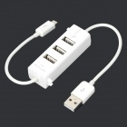 S-K01 USB 2.0 3-Port HUB + Smart Phone OTG Charger - White