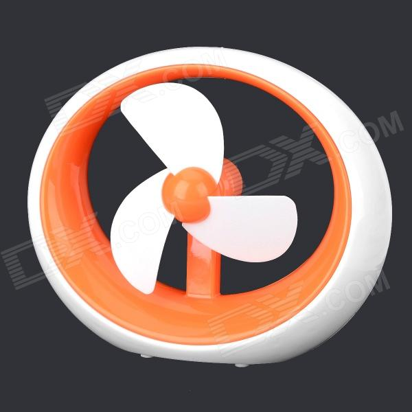 HH657 Cute Portable USB 2.0 / Battery Powered Ultra-Silence 3-Blade Cooling Fan - Orange + White 2016 year very hot sale new small apple design high quality battery operated min usb powered table fan cooling fan