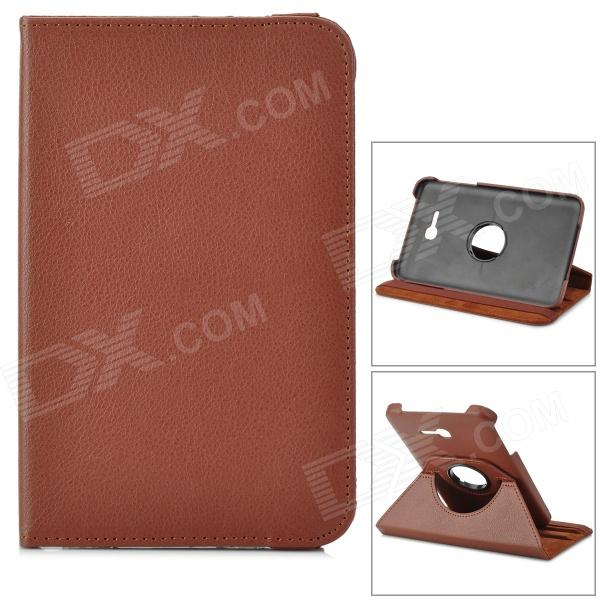 IKKI 360 Degree Rotary Flip-Open PU Leather Case w/ Stand for Samsung Galaxy Tab 3 Lite T110 - Brown