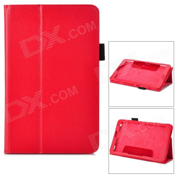 Lychee Pattern Protective PU Leather Case w/ Stand for Lenovo Miix2 8 - Red