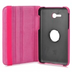 IKKI 360 Degree Rotary PU Leather Case w/ Stand for Samsung Galaxy Tab 3 Lite T110 - Deep Pink