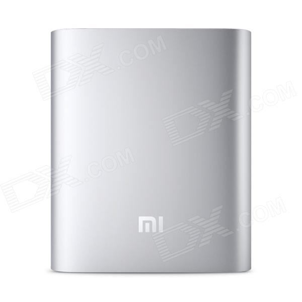 XIAOMI Genuine 10400mAh USB Mobile Power Source Bank w/ 4-LED Indicators - Silver + White xiaomi universal 10400mah usb li ion battery power bank w 4 led indicators deep pink