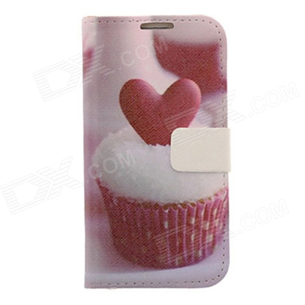Kinston Cake + Heart Drawing Pattern PU Leather Case Cover for Samsung Galaxy S4 i9500 - White + Red