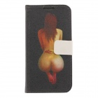 Kinston Body Art Drawing Pattern PU Leather Case Cover for Samsung Galaxy S4 i9500 - Black