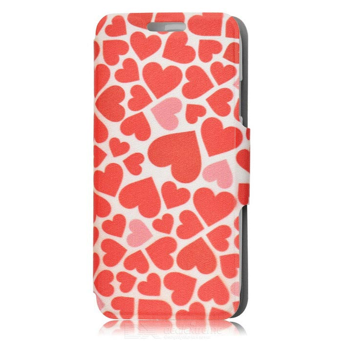 Kinston Love Hearts Drawing Pattern PU Leather Case Cover for Samsung Galaxy S4 i9500 - Red protective cute spots pattern back case for samsung galaxy s4 i9500 multicolored