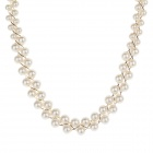 Double Row Pearl Women's Necklace - White + Golden