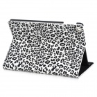 KWEN BAOWEN Leopard Pattern Protective Flip Open Case w/ Stand for IPAD AIR - White + Black