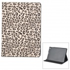 KWEN BAOWEN Leopard Pattern Protective Flip Open Case w/ Stand for IPAD AIR - Black + Light Brown