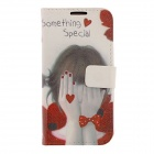 Kinston Shy Girl Drawing Pattern PU Leather + Plastic Case Cover for Samsung Galaxy S4 i9500