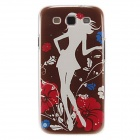 Kinston White Shadow Lady Pattern Protective Plastic Back Case for Samsung Galaxy S3 i9300 - Brown