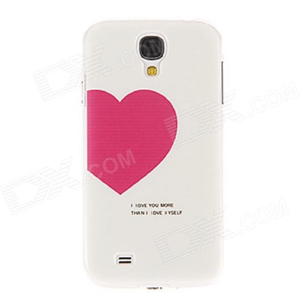 Kinston Red Heart Pattern Protective Plastic Hard Back Case for Samsung Galaxy S4 i9500 - White protective cute spots pattern back case for samsung galaxy s4 i9500 multicolored