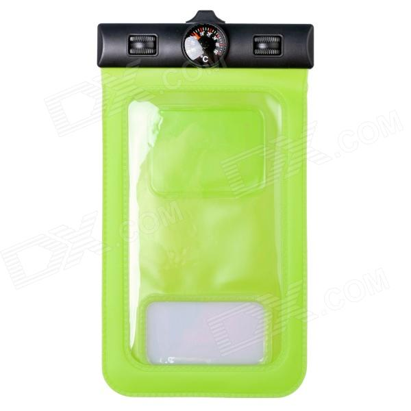 Waterproof IPX8 Professional Protective Bag w/ Armband / Themometer for Samsung Galaxy S5 - Green