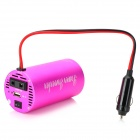 200W DC 12V to AC 220V Car Power Inverter w/ 5V 0.5A Output - Deep Pink (27cm)