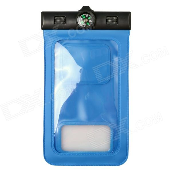 Waterproof IPX8 Professional Protective Bag w/ Armband / Compass for Samsung Galaxy S5 - Blue