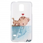 Kitty-Fish Kiss Pattern High Quality Protective Plastic Hard Case for Samsung Galaxy S5 - White