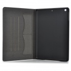 KWEN ioa00 Protective Flip Open PU + Plastic Case w/ Card Slots / Stand for IPAD AIR - White + Black