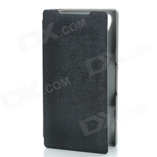 Protective PU Leather + PC Case Cover Stand for Sony Xperia Z2 - Black