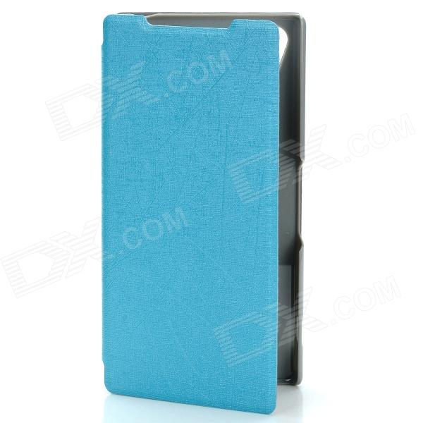 Protective PU Leather + PC Case Cover Stand for Sony Xperia Z2 - Blue protective pu leather pc case cover stand for sony xperia z2 blue