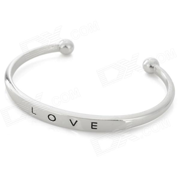 Stylish LOVE Letter Embedded Silver Plated Alloy Bracelet for Women - Silver