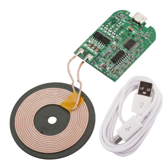 Wireless Charger Borad PCBA Circuit Board w/ Micro USB Cable - White