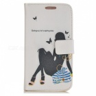 Kinston Sketching Lady Drawing Pattern PU Leather Case Cover for Samsung Galaxy S3 i9300 -Deep Brown