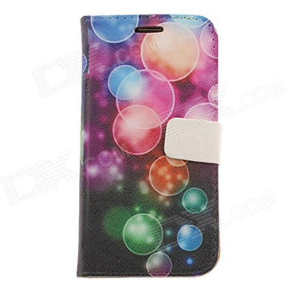 Kinston Colorful Bubbles Drawing Pattern PU Leather Case Cover for Samsung Galaxy S3 i9300 - Black lichee pattern protective pu leather case stand w card slot for samsung galaxy s3 i9300 black