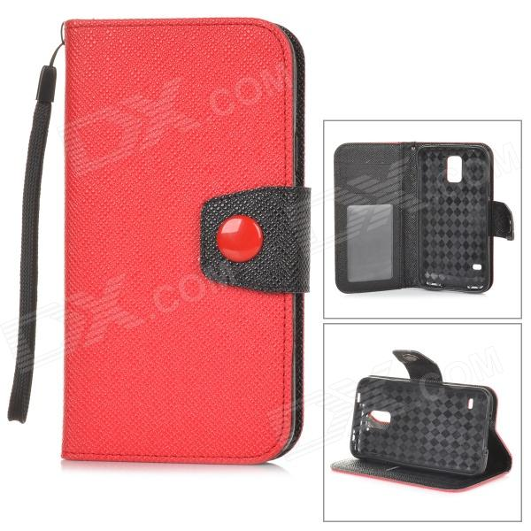 Stylish Flip-open PU + TPU Case w/ Holder + Card Slot + Strap for Samsung S5 - Red + Black stylish flip open pu leather tpu case w holder for iphone 4 4s red